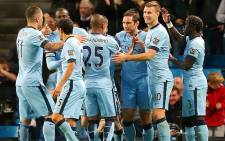 FILE: Manchester City players celebrate after beating Sheffield Wednesday 7-0 in the League Cup on 24 September 2014. Picture: Official Manchester City Facebook page.