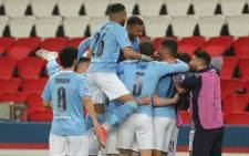 Manchester City players celebrate a goal against PSG in their UEFA Champions League semifinal first leg match in Paris on 28 April 2021. Picture: @ManCity/Twitter