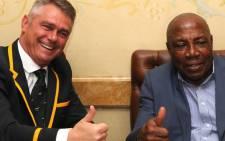 The Springbok coach, Heyneke Meyer with Bafana Bafana coach, Shakes Mashaba ahead of the Boks send off. Picture: Safa.