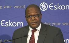 A screengrab of Eskom Acting CEO Brian Molefe briefing the country on the utility's winter plan on 17 June 2015.