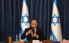 Israeli Prime Minister Naftali Bennett chairs the weekly cabinet meeting in Jerusalem on 22 August 2021. Picture: GIL COHEN-MAGEN/AFP