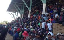 Thousands of miners in Marikana gathered at the stadium to be addressed by Amcu leaders on 14 May 2014. Picture: Vumani Mkhize/EWN.