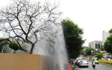 FILE: Water gushes out of a burst water pipe. Picture; EWN