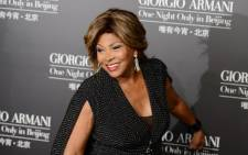 This picture was taken on 31 May 2012 shows singer Tina Turner arriving on the red carpet for the fashion show by 77-year-old designer Giorgio Armani at the 798 art complex in Beijing. Picture: AFP