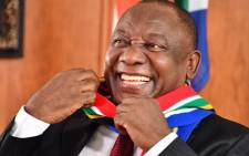 President Cyril Ramaphosa has a light moment at the end of his Freedom Day address. Picture: GCIS.