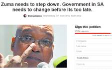 Screengrab of a petition calling for the removal of President Jacob Zuma.