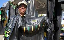 Ngiphile Mtshali from Kwazulu-Natal Province sells ANC branded leather jackets at the National Policy Conference in Midrand. Picture: Taurai Maduna/EWN