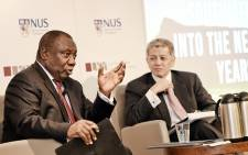 Deputy President Cyril Ramaphosa delivers an address at the Lee Kuan Yew School of Public Policy, National University of Singapore. Picture: GCIS.