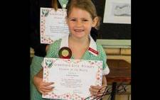 Greenfield Girls' Primary posted a picture of Louise Fowler, a seven-year-old girl who was swept out to sea. Picture: Greenfield Girls' Primary, Kenilworth/facebook.com