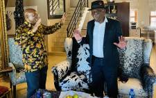 Jacob Zuma and Bheki Cele met on Thursday, 18 February 2021 in Nkandla. Picture: Dudu Zuma-Sambudla/Twitter.