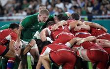 FILE: Ireland's prop John Ryan (L) prepares for a scrum during the Japan 2019 Rugby World Cup Pool A match between Ireland and Russia at the Kobe Misaki Stadium in Kobe on 3 October 2019. Picture: AFP.