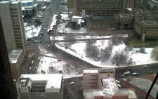 Snow blanketed parts of Braamfontein on 7 August 2012. Picture: Imke Kruger/iWitness
