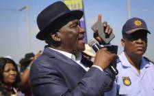 FILE: Police Minister Bheki Cele addresses community members in Browns Farm near Nyanga. The minister visited the area after the death of four people. Picture: Cindy Archillies/EWN