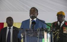 Zimbabwean President Emmerson Mnangagwa is seen addressing a large crowd at the Zimbabwean embassy in Pretoria. Mnangagwa is in the country on his first working visit since he was inaugurated in Harare last month. Picture: Ihsaan Haffejee/EWN