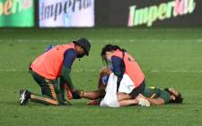 Jaden Hendrikse was forced to leave the field with what looked like a knee injury during the match between the Boks and Argentina at the Nelson Mandela Stadium  on Saturday, 21 August 2021. Twitter/@Springboks