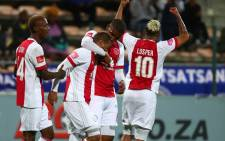Ajax Cape Town players celebrate after scoring a goal against SuperSport United. Picture: @ajaxcapetown/Twitter