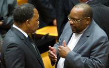 ANC Chief Whip Mothole Motshekga (right) speaks to Deputy President Kgalema Motlanthe. Picture: GCIS