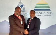 Police minister Nathi Nhleko congratulates Brigadier Anbuen Naidoo. Picture: SAPS.