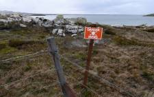 In this file photo taken on October 11, 2019 a mine beach is pictured in Stanley, Falkland Islands. The UK govt announed it was cleared of landmines on 10 November. Picture: AFP.