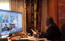 President Cyril Ramaphosa on 22 April 2020 hosted a virtual meeting of the AU Bureau of Heads of State & Government with African business leaders. Picture: @AUChair2020/Twitter.
