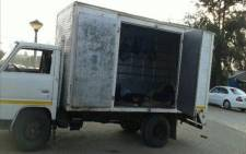 The truck in which 57 Malawian victims of human trafficking were found by police. Picture: SAPS.