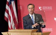 Former Governor and presidential candidate Mitt Romney addresses a full house of more than 600 people during a speech for Hinckley Institute of Politics at the University of Utah in Salt Lake City 3 March, 2016. Picture: AFP.