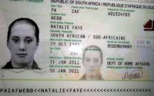 An image of a fake South African passport belonging to British national Samantha Lewthwaite (the 'White Widow) was released by Kenyan police in 2011. Picture: AFP