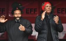 AbaThembu King Buyelekhaya Dalindeybo and EFF leader Julius Malema in Mandela Park, Mthatha. Picture: EFF.