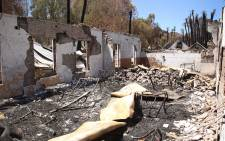Inside the burnt out hostel that housed 200 school learners. Picture: Bertram Malgas/EWN