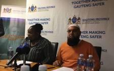 Gauteng Transport MEC Ishmael Vadi and Gauteng Community Safety MEC Sizakele Nkosi-Malobane briefing the media on the closure of five Soweto taxi ranks on 11 July 2017. Picture: Hitekani Magwedze/EWN