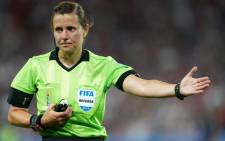 Ukrainian referee Kateryna Monzul gestures during the France 2019 Women's World Cup quarter-final football match between France and USA, on June 28, 2019, at the Parc des Princes stadium in Paris. Picture:  Lionel BONAVENTURE / AFP