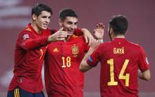 Spain's Alvaro Morata, Ferran Torres and Jose Gaya celebrate a goal against Germany in the UEFA Nations League match on 17 November 2020. Picture: @EURO2020/Twitter