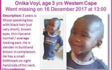 Missing three-year-old Onika Voyi. Picture: The Pink Ladies