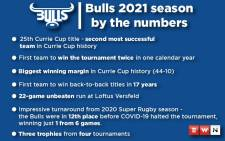 The Bulls beat the Sharks in the Currie Cup final to land their third title from four tournaments in 2021 and becoming the second-most successful side in the tournament's history. Picture: Eyewitness News