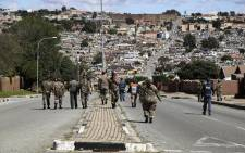 The SANDF took to the streets of Alexandra encouraging residents of the township to stay indoors. Picture: Kayleen Morgan/EWN