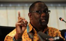 Cosatu General-Secretary Zwelinzima Vavi speaks at a news conference in Johannesburg on Friday, 24 August 2012 on the shooting at Lonmin's Marikana mine. Picture: Werner Beukes/Sapa.