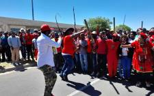 EFF members gather at Brackenfell High School ahead of their anti-racism demonstration on 20 November 2020. Picture: Zukile Daniel