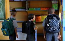 FILE: Grade one learners on their first day of school at General Alberts Primary School in New Redruth. Picture: SAPA.