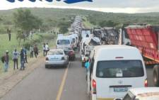 The situation at the Mozambique-South Africa Lebombo border on 5 January 2021 is fast deteriorating for people coming back to SA. Picture: Supplied