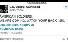 A screengrab of the US Central Command Twitter feed which appeared to have been hacked by people claiming to be Islamic State sympathizers.