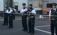 At least one person is dead and many others injured after a van slammed into worshippers leaving a London mosque. Picture: screengrab/CNN