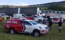 The scene of a crash in Westonaria, where a bus collided with a truck on 23 January 2018. Picture: @ER24EMS/Twitter