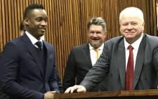 Duduzane Zuma appears in the Randburg Magistrates Court on 12 July 2018. Picture: Barry Bateman/EWN.