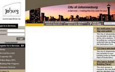 The City of Johannesburg's e-services website.