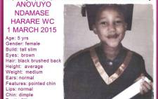 Anovuyo Ndamase (5) was last seen playing with friends at her Khayelitsha home on 1 March 2015. Picture: Pink Ladies