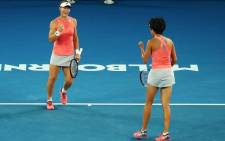 Samantha Stosur and Zhang Shuai at the Australian Open. Picture: AustralianOpen/Twitter
