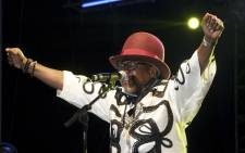 Congolese music star Papa Wemba performs during the Femua music festival in Abidjan on April 24, 2016 before collapsing on stage. Picture: AFP.