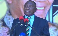 A screengrab of ANC President Cyril Ramaphosa addressing the Nelson Mandela centenary celebrations on the Grand Parade in Cape Townn on 11 February 2018.