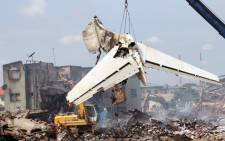 The flight that crashed in Nigeria's largest city of Lagos on 3 June 2012, killing all of the 153 people on board. Picture: AFP