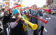 FILE: WHO says Vuvuzelas can have a sound intensity level of 120 dB - unsafe for more than 9 seconds a day. Picture: EWN.